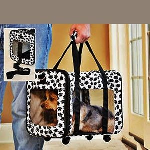 NEW Rolling Pet Carrier Puppy Paw